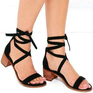 Steven Madden Rizzaa Black Suede Sandals